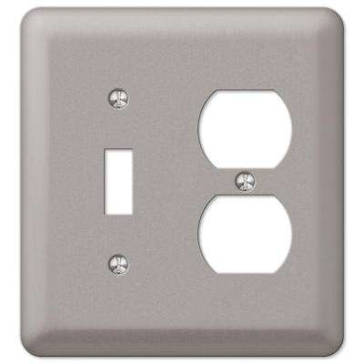 Steel 1 Toggle 1 Duplex Combination Wall Plate - Pewter