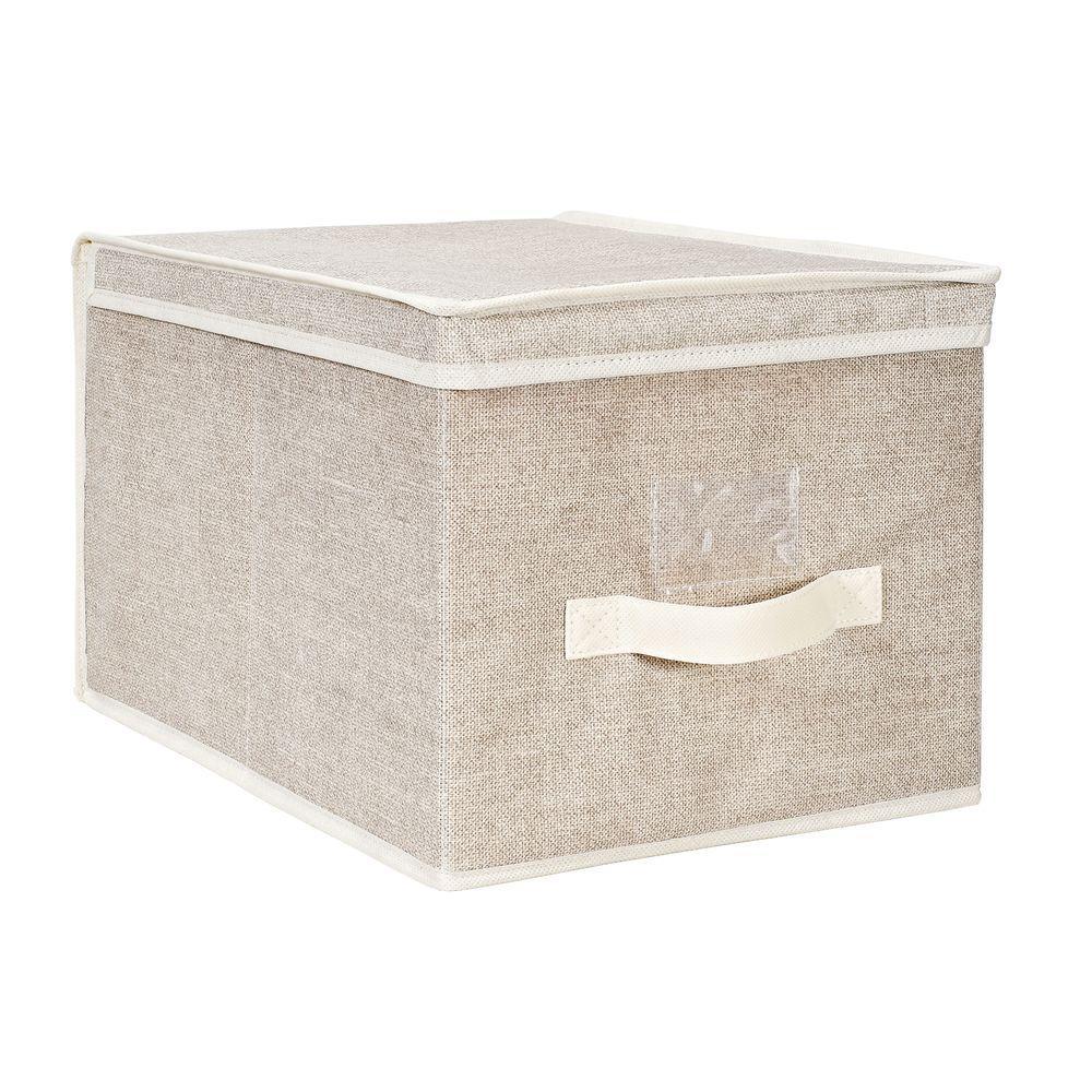 12 in. x 16 in. x 10 in. Large Faux Jute Polypropylene Storage Box