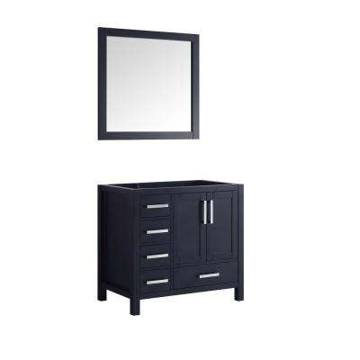 Jacques 36 in. Single Vanity No Top and 34 in. Mirror Left in Navy Blue
