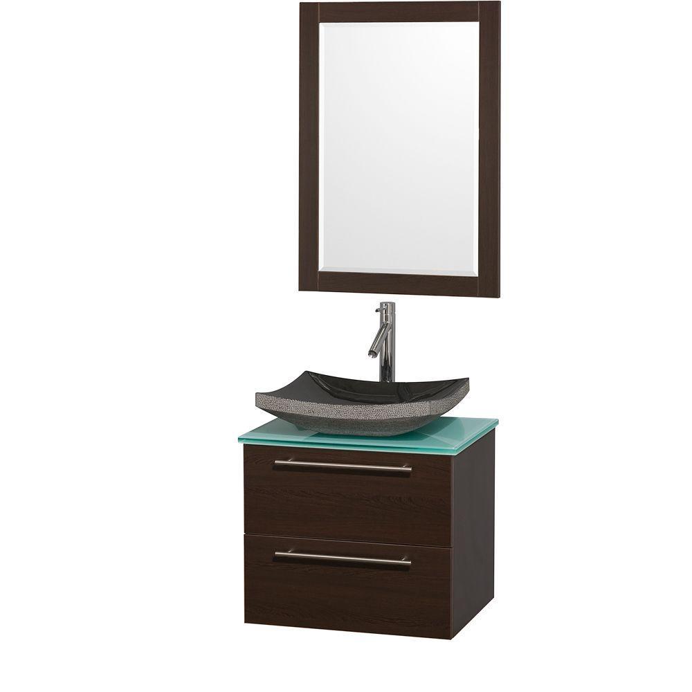 Amare 24 in. Vanity in Espresso with Glass Vanity Top in Aqua and Black Granite Sink