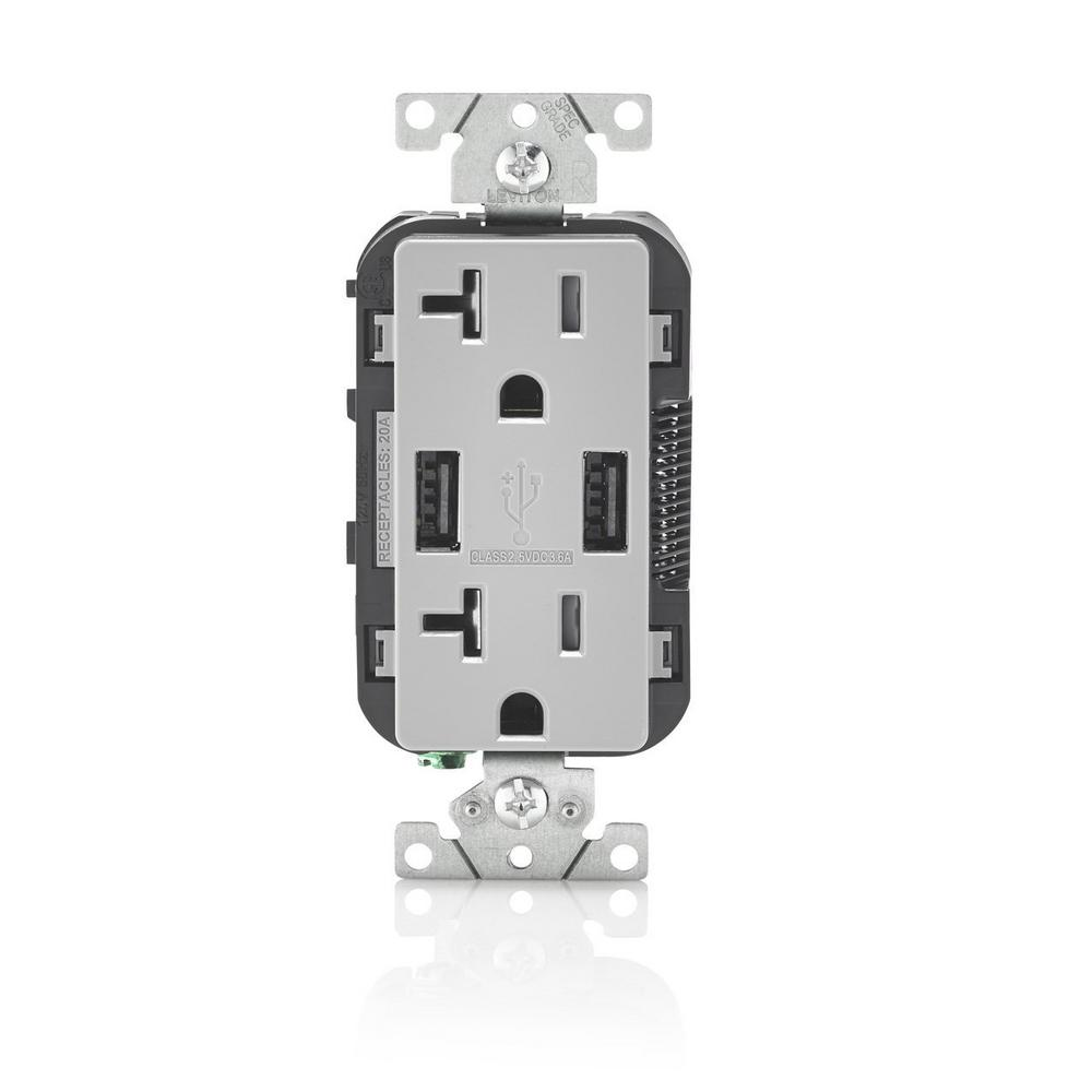 Leviton Decora 20 Amp Tamper Resistant Duplex Outlet And 36 Usb 3 Way Switch Wiring Diagram Free Picture Gray