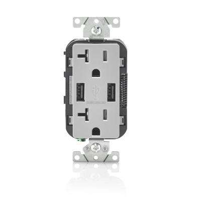 Decora 20 Amp Tamper Resistant Duplex Outlet and 3.6 Amp USB Outlet, Gray