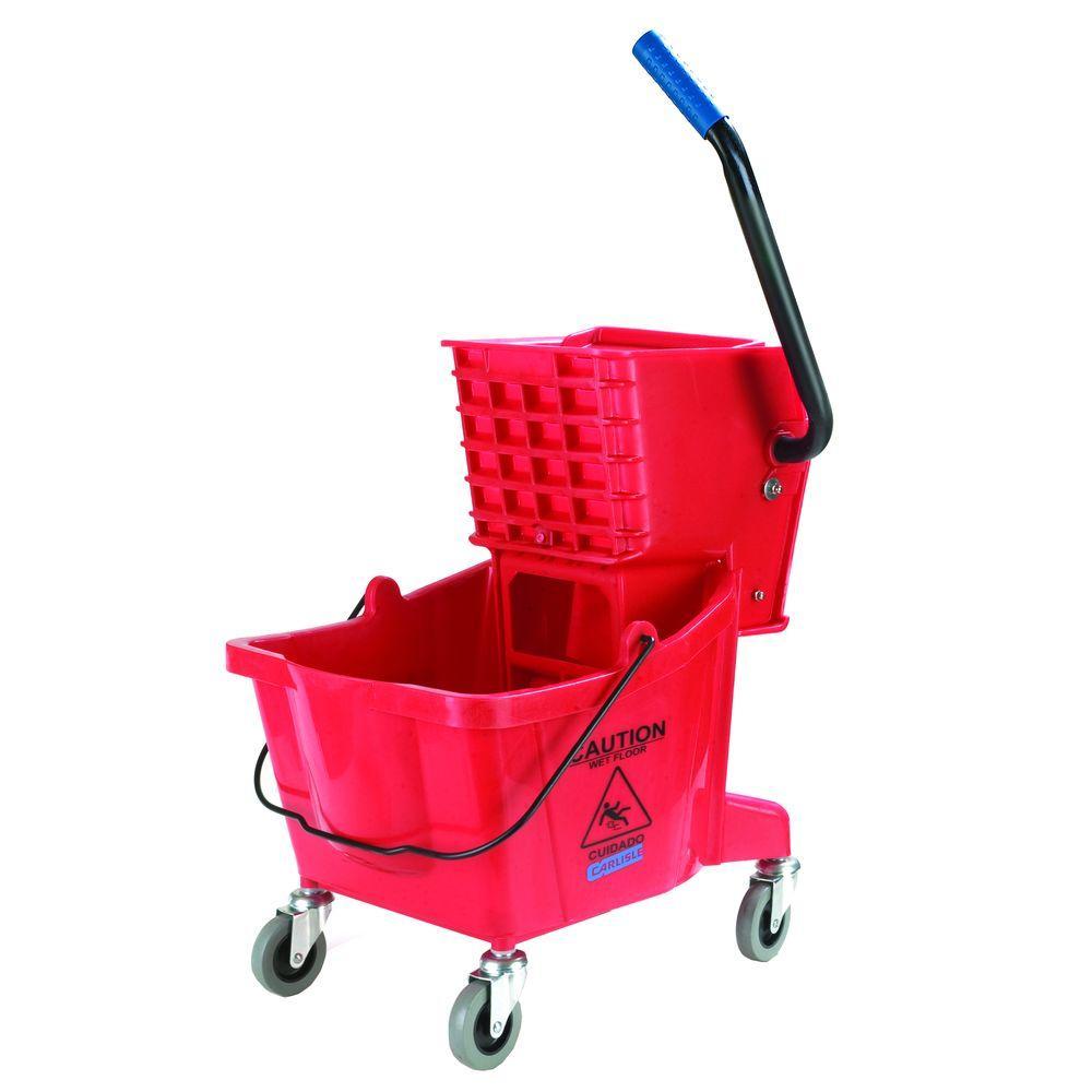 Carlisle 26 qt. Red Mop Bucket/Wringer Combo by Carlisle