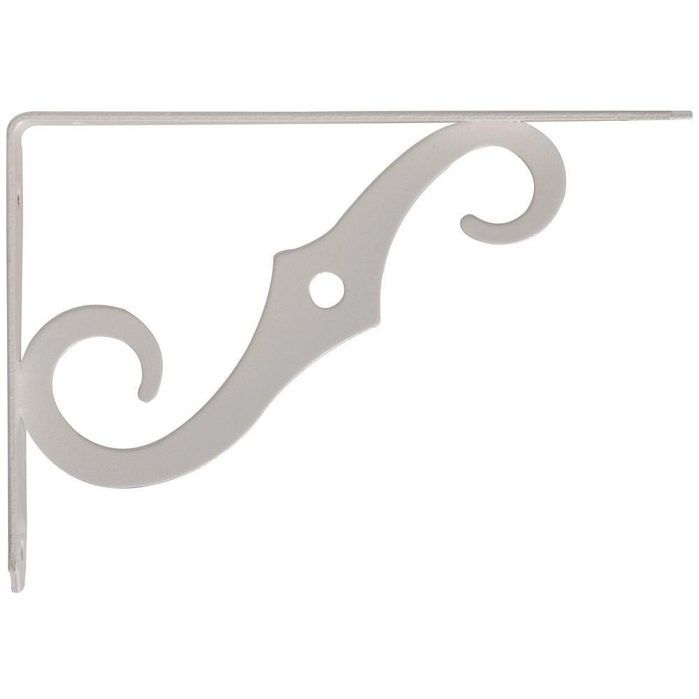 Hardware Essentials 10 in. x 7 in. Antique White Ornamental Shelf Bracket (10-Pack)