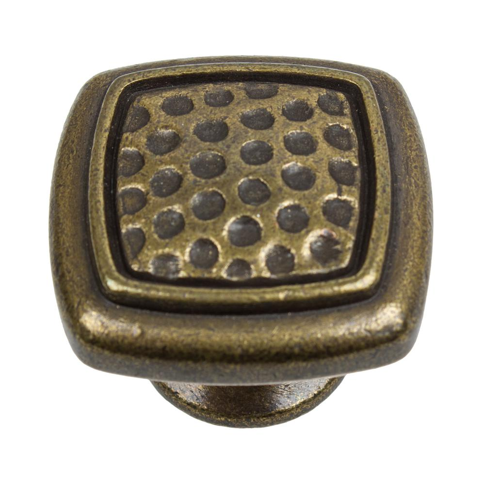 1-1/4 in. Dia Antique Brass Square Dimpled Cabinet Knob (10-Pack)