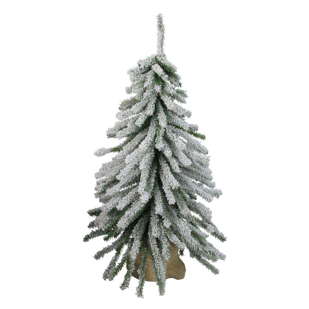 Northlight 24 In Unlitflocked Downswept Mini Village Pine Artificial Christmas Tree In Burlap Base