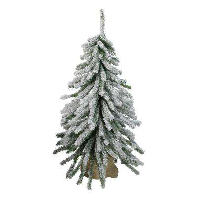 24 in. UnlitFlocked Downswept Mini Village Pine Artificial Christmas Tree in Burlap Base