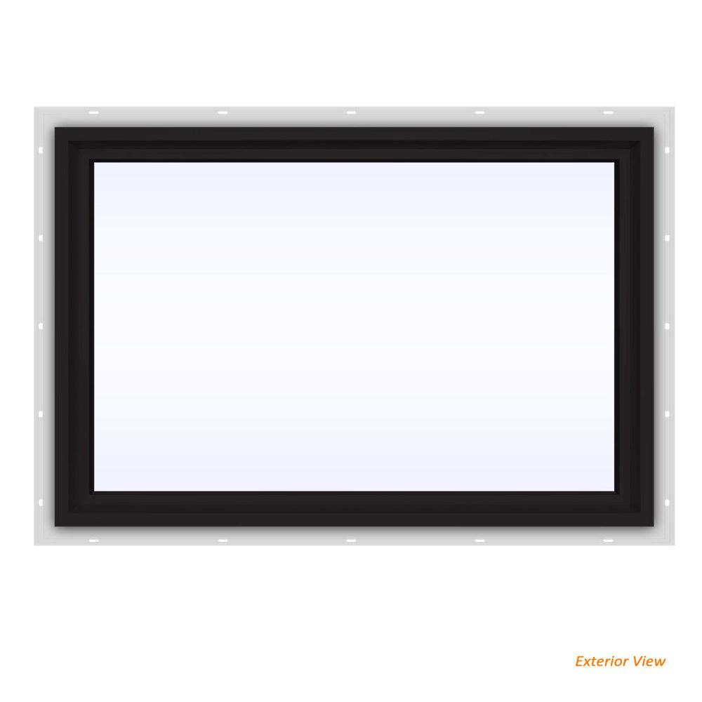 JELD-WEN 35.5 in. x 23.5 in. V-4500 Series Black Painted Vinyl Picture Window w/ Low-E 366 Glass