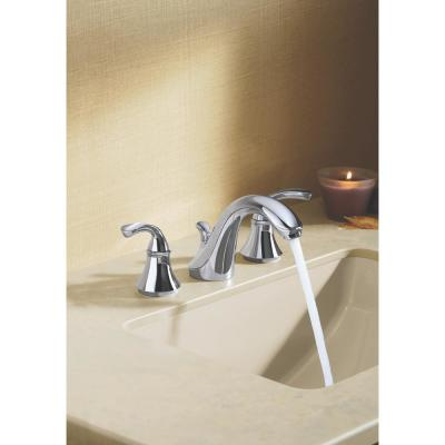 Forte 8 in. Widespread 2-Handle Low-Arc Bathroom Faucet in Polished Chrome with Sculpted Lever Handles
