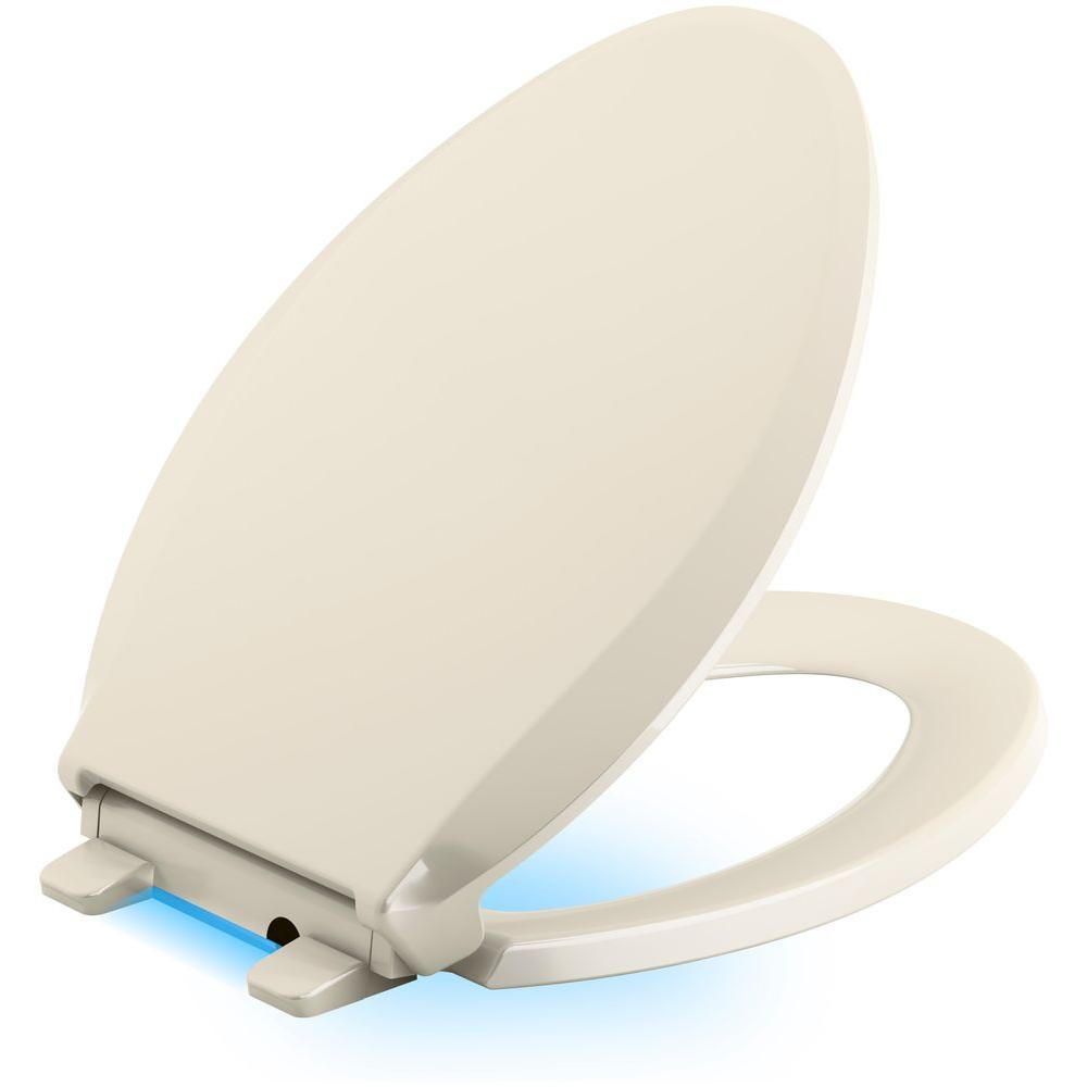 Cachet Led Nightlight Elongated Quiet Closed Front Toilet Seat In Almond