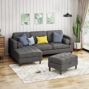 Le House Floia 3 Piece Charcoal Tweed Sectional Sofa