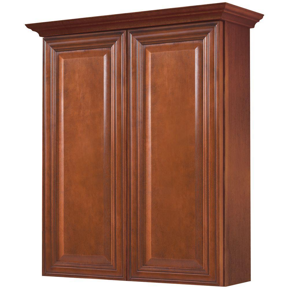 MasterBath Raised Panel 24 in. W Bath Storage Cabinet in Cognac