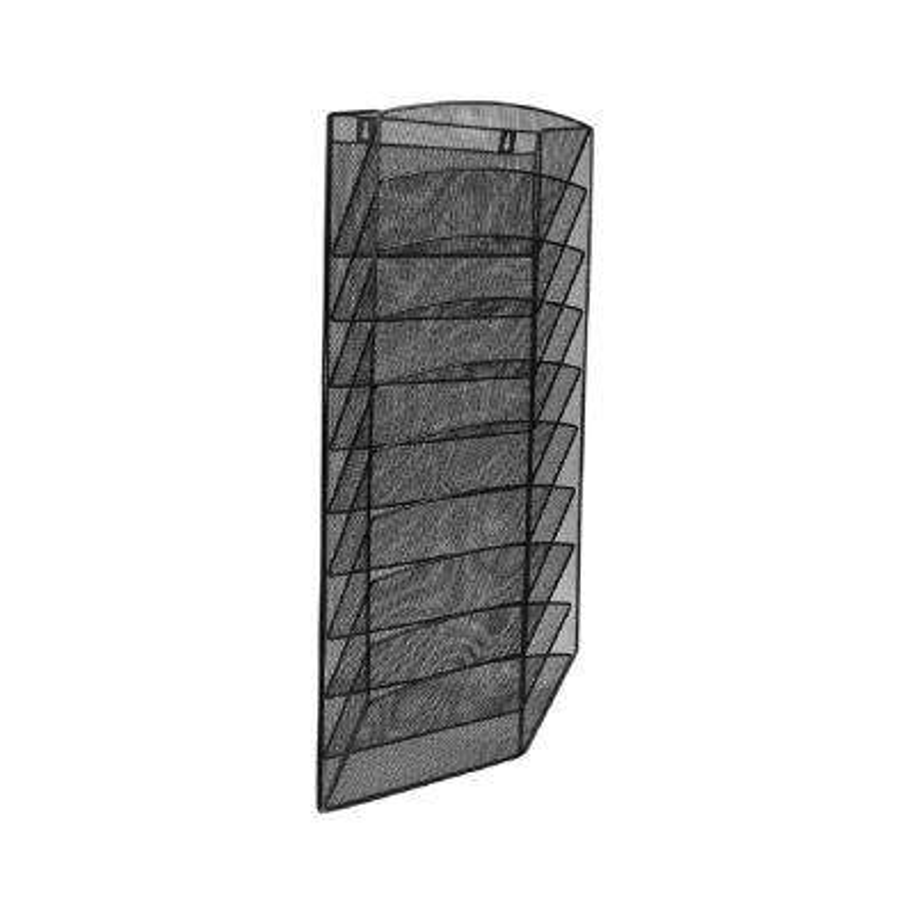 Steel Mesh 10-Pocket Wall-Mounted Magazine Rack