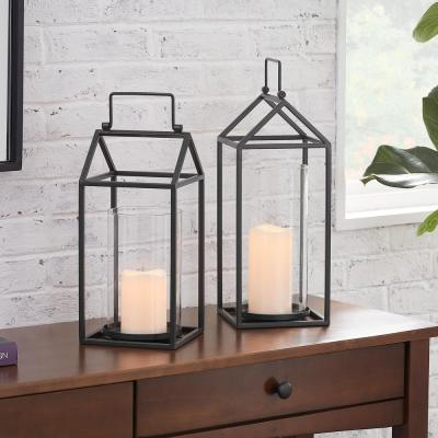 Black Metal and Glass Candle Hanging or Tabletop Lantern (Set of 2)
