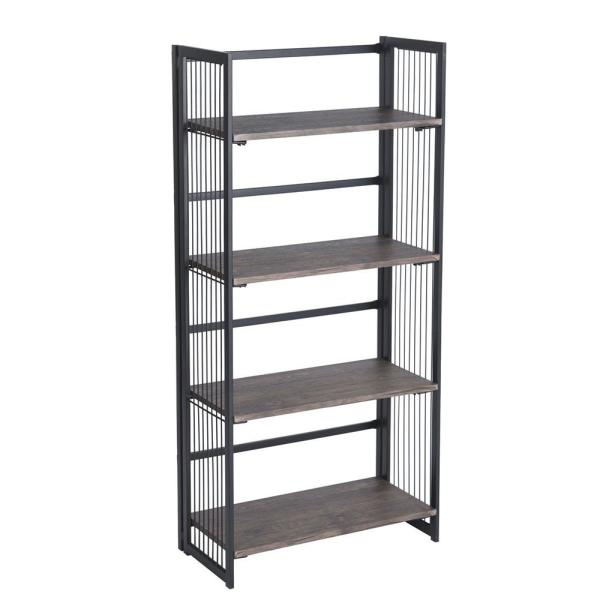 Industrial 49.2 in. Black Metal 4-Shelf Standard Bookcase with Open Back