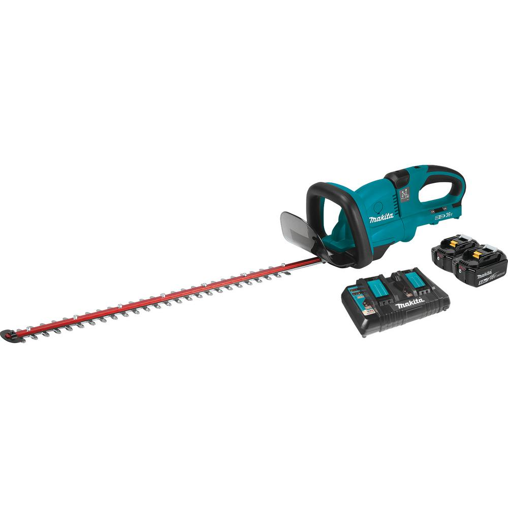 Makita 18-Volt X2 (36-Volt) LXT Lithium-Ion Cordless Hedge Trimmer Kit with Two 5.0 Ah Batteries and Charger