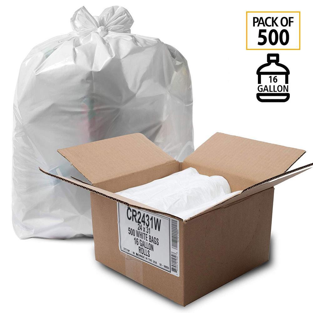 12 Gallon to 16 Gallon Low Density White Trash Bag (500-Count)