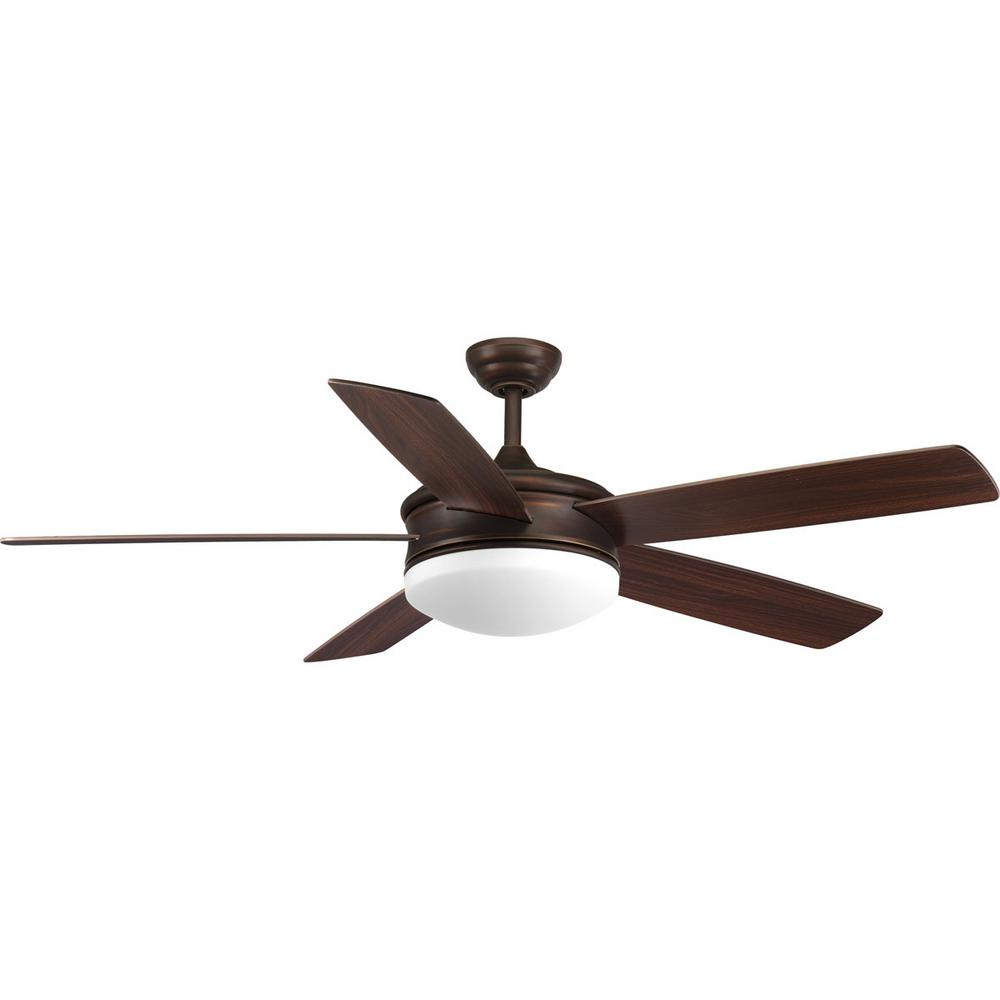 Progress Lighting Fresno Collection 60 In. LED Indoor Antique Bronze  Ceiling Fan With Light Kit