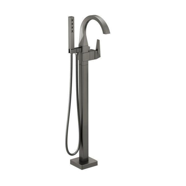 Trillian 1-Handle Floor-Mount Curved Tub Filler Trim Kit in Black Stainless with Hand Shower (Valve Not Included)