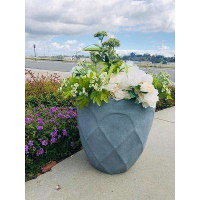 Large 20 in. Dia Lightweight Concrete Modern Retro Round Slate Gray Planter