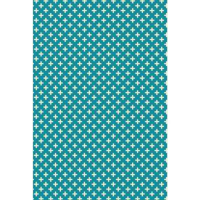 Elegant Cross Design 2ft x 3ft teal & white Indoor/Outdoor vinyl rug.