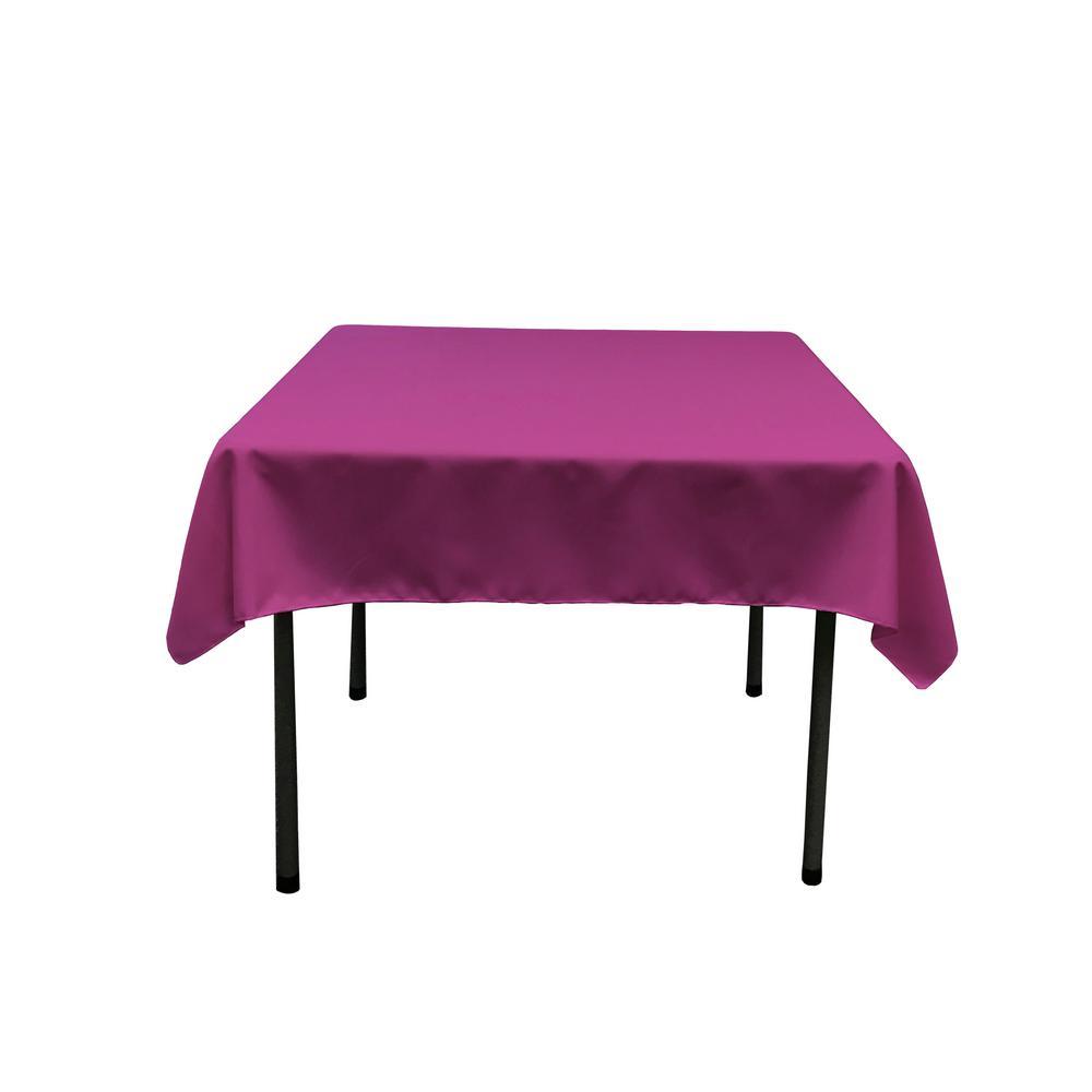 58 in. x 58 in. Magenta Polyester Poplin Square Tablecloth
