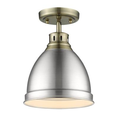 Duncan 9 in. 1-Light Aged Brass with Pewter Shade Flush Mount
