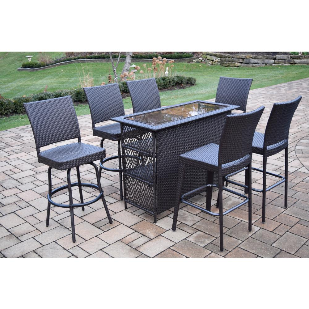 Elite 7 Piece Wicker Outdoor Bar Height Dining Set