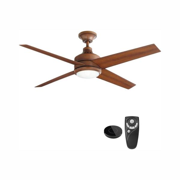 Mercer 52 in. Integrated LED Indoor Distressed Koa Ceiling Fan with Light Kit works with Google Assistant and Alexa