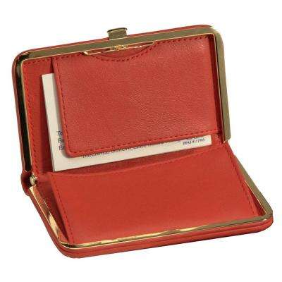 Genuine Leather Framed Business Card Case Wallet, Red