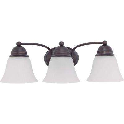 Lite line the home depot nuwa 3 light mahogany bronze bath vanity with frosted white glass aloadofball Image collections