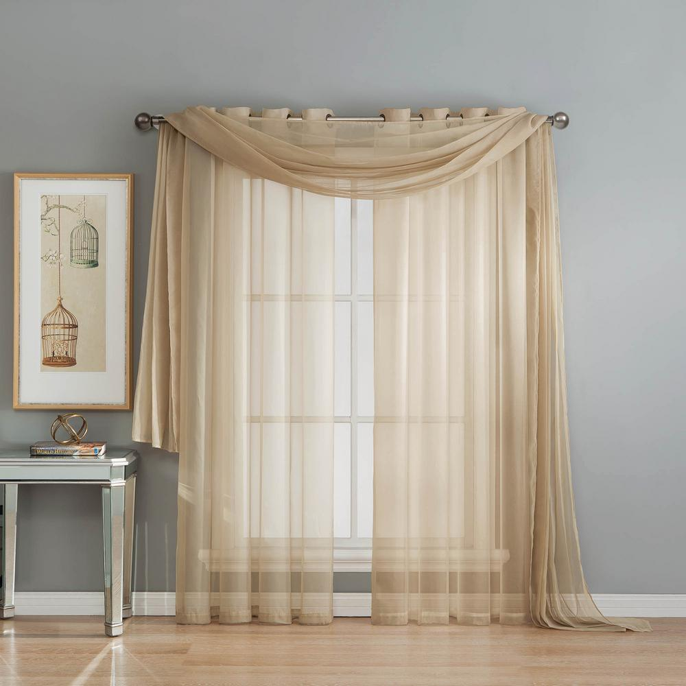 L Polyester Curtain Scarf In Linen