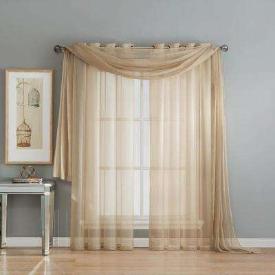 Solid Voile Sheer 216 in. L Polyester Curtain Scarf in Linen