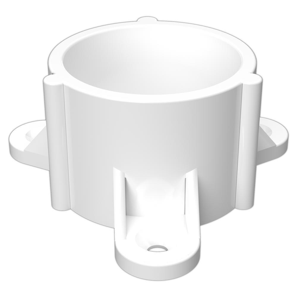 2 in. Furniture Grade PVC Table Screw Cap in White (4-Pack)