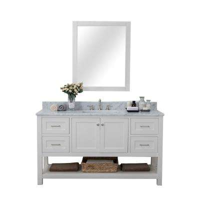 Wilmington 60 in. W x 34.2 in. H x 22 in. D Bath Vanity in White with Marble Vanity Top in White with White Basin