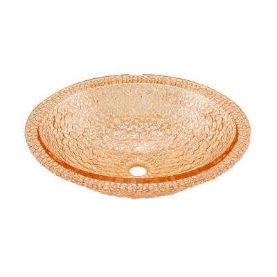 Pebble Undermount Bathroom Sink in Champagne Gold with Overflow