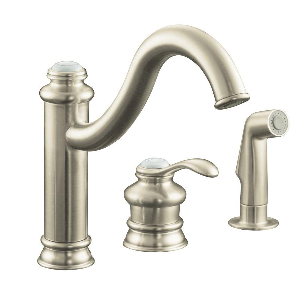 kitchen faucet brushed nickel kohler fairfax single handle standard kitchen faucet with 19486