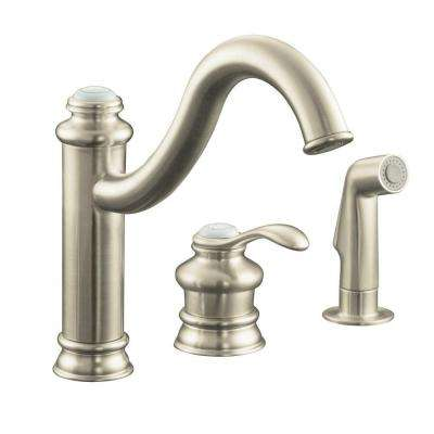 Fairfax Single-Handle Standard Kitchen Faucet with Side Sprayer and Remote Valve in Vibrant Brushed Nickel