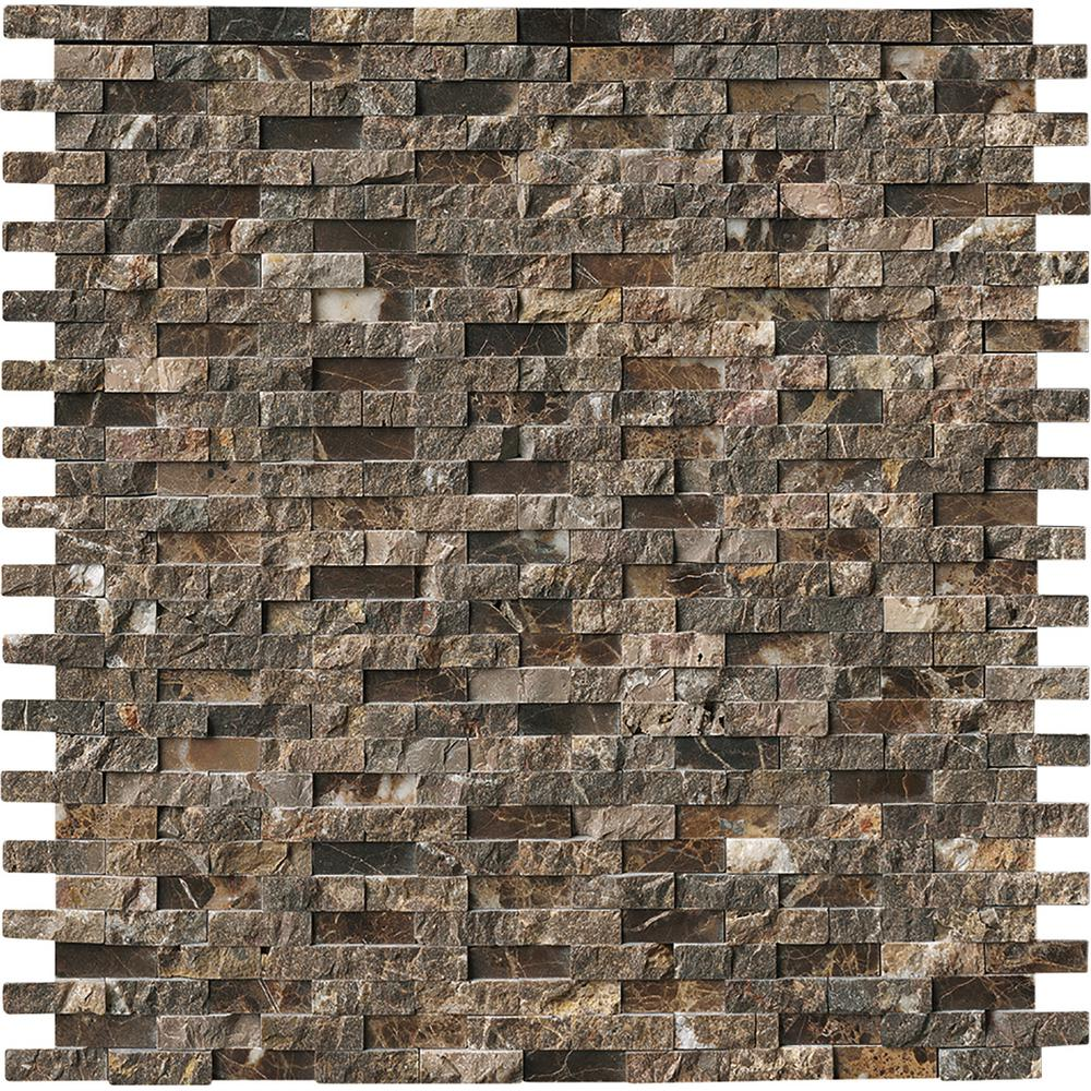 Msi Emperador Splitface 12 In X 10 Mm Marble Mesh Mounted Mosaic Tile Emp Sfil10mm The Home Depot