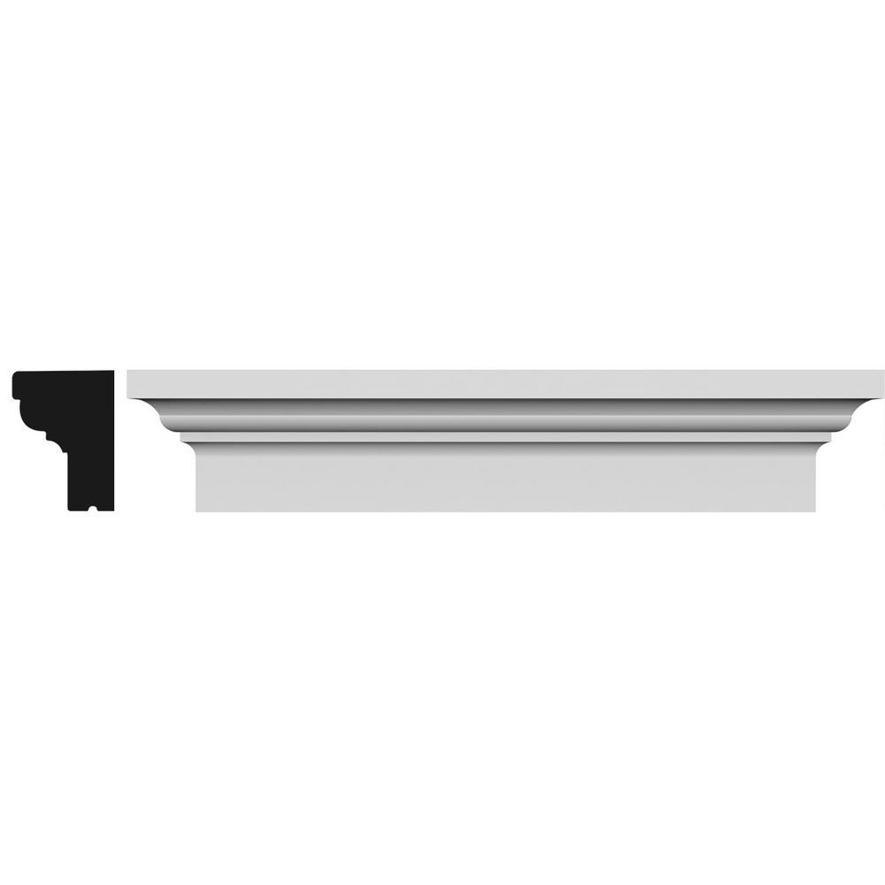 Ekena Millwork 1-7/8 in. x 91 in. x 5 in. Polyurethane Standard Crosshead Moulding