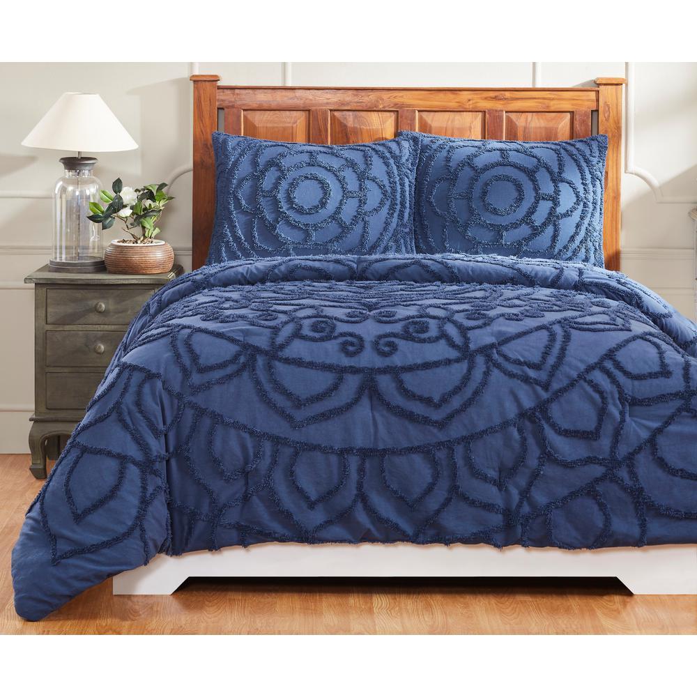Cleo 90 in. X 90 in.  Navy Full/Queen Comforter with 20 in. X 26 in. 2-Standard Sham