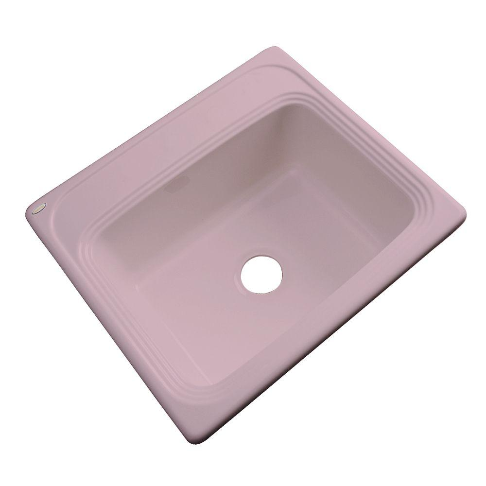 Thermocast Wellington Drop-in Acrylic 25x22x9 in. 0-Hole Single Basin Kitchen Sink in Wild Rose