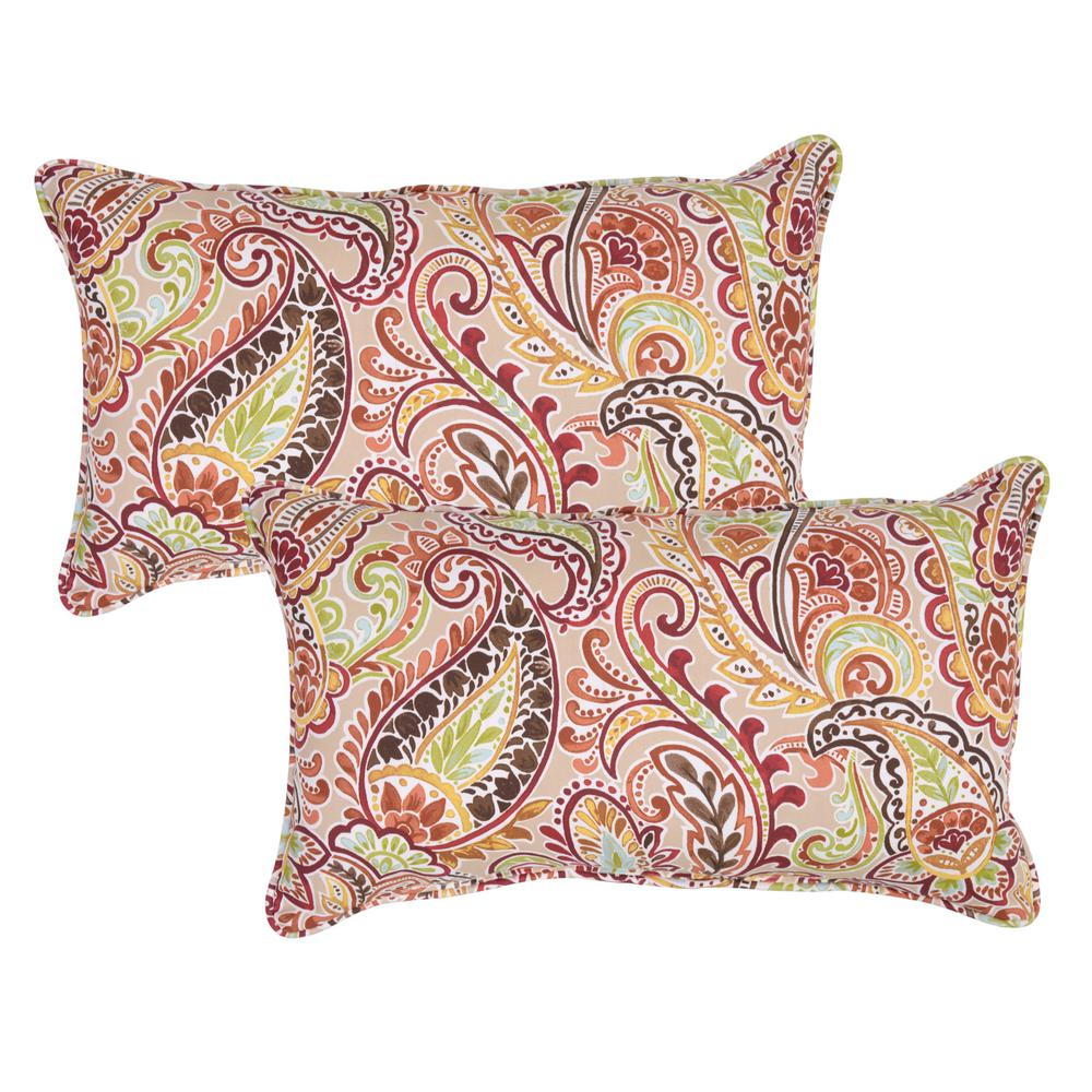 Chili Paisley Lumbar Outdoor Throw Pillow (Pack of 2)