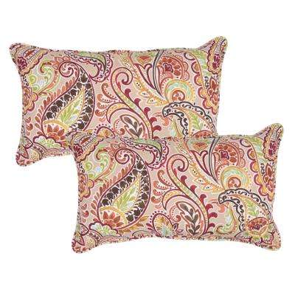 Chili Paisley Lumbar Outdoor Throw Pillow (Pack of 2)