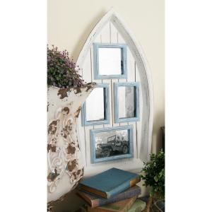 4-Opening Cream and Sky Blue Boat Picture Frame by