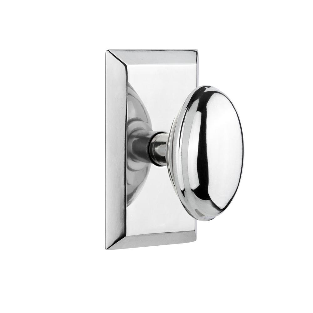 Studio Plate 2-3/8 in. Backset Bright Chrome Privacy Homestead Door Knob