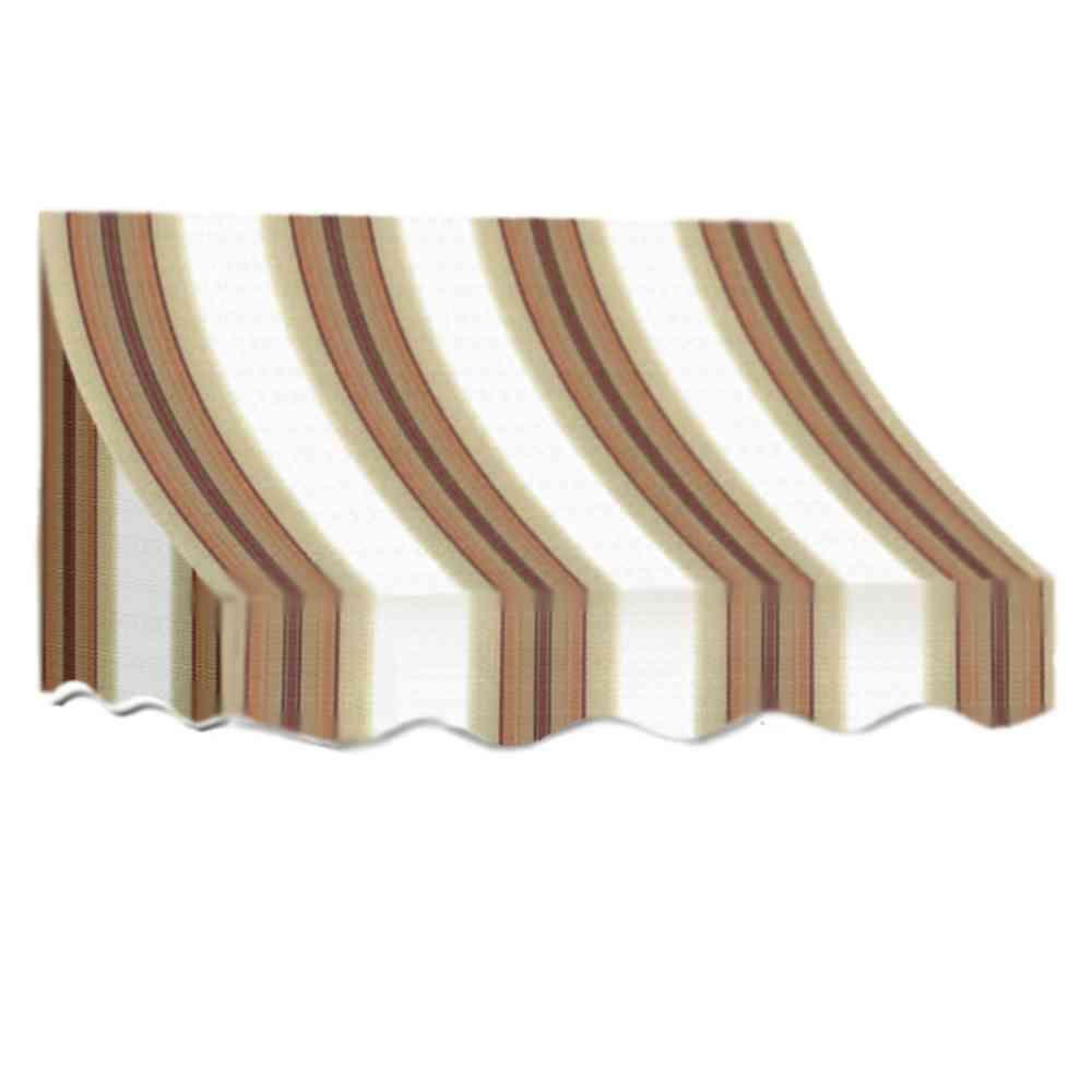 AWNTECH 18 ft. Nantucket Window/Entry Awning (44 in. H x 36 in. D) in White/Linen/Terra Cotta Stripe
