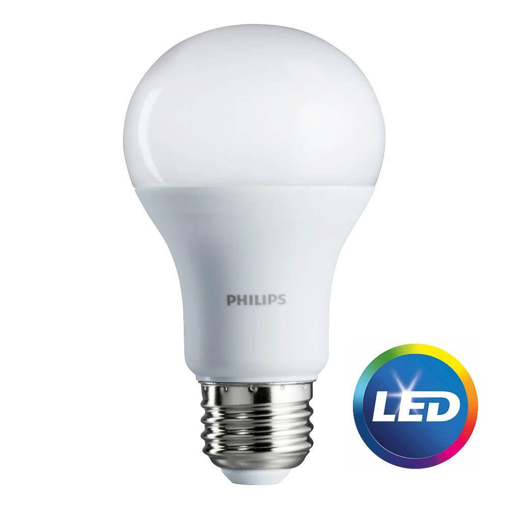 philips 75 watt equivalent a19 led soft white 2 pack 462969 the home depot. Black Bedroom Furniture Sets. Home Design Ideas