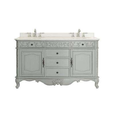 Winslow 60 in. W x 22 in. D Vanity in Antique Gray with Marble Vanity top in White with White Basins