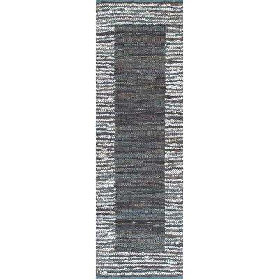 Solid Striped Border Neta Grey 3 ft. x 8 ft. Runner Rug